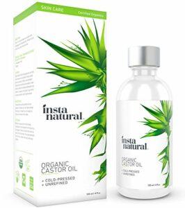 Huile de castor InstaNatural – 100 % pure et certifiée organique pour les cheveux, le visage, la peau et les ongles – 120 ml