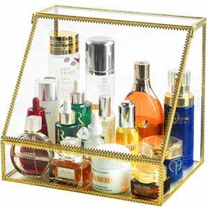 InnSweet Organiseur de maquillage en verre avec couvercle ouvert à l'avant incliné, support de rangement pour cosmétiques, soins de la peau et pinceaux, trapézoïdal
