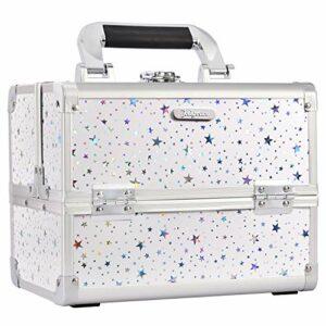 Joligrace Trousse de maquillage avec miroir, verrouillable avec clés, étoile holographique blanche