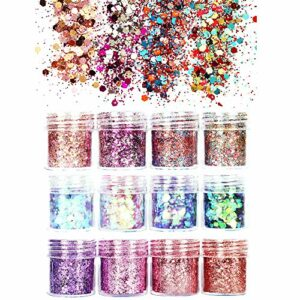 JUN-H 12 Styles Chunky Glitter Nail Sequin Glitter pour le visage Nails Yeux Lèvres Cheveux Corps Make Up Glitter Sequin Musique Festival Masquerade 12 Boîtes * 10ML