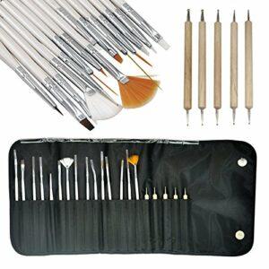 Katpost Ensemble de 20 Kits de Pinceaux Ongles Stylo Dotting Nail Set Brosse Dotters avec Toutes Sortes d'outils pour Les Décorations d'ongles