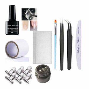 Kit d'ongles en fibre de verre, Anself extension de l'ongle, réparation de la fibre de colle, fibre de verre, gel, serviette en soie, serviette en soie, ensemble d'outil de salon de manucure