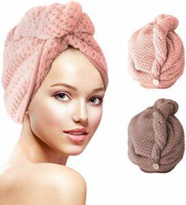 Lot de 2 paquets de serviettes en microfibre pour séchage des cheveux – Avec bouton turban