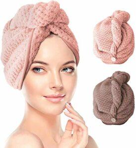 Lot de 2 serviettes en microfibre pour cheveux, super absorbantes, turban torsadé, bonnet pour cheveux secs et bonnet de bain à bouton, pour salon de coiffure (rose et marron), 2 sacs