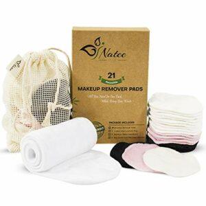 Lot de 21 tampons de démaquillant réutilisables en bambou réutilisables avec bandeau en velours et sac à linge en bambou biologique lavable, sans déchet, soin naturel du visage et de la peau