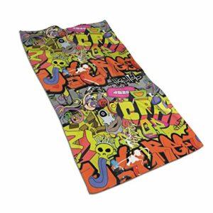 Lsjuee Hip Hop Funky Grunge Culture Skull Coton Gants de Toilette 27,5 x 15,7 Pouces, Chiffon Doux et Absorbant pour Le Visage, Gant de Toilette pour Salle de Bain, Serviettes de Toilette à séchage
