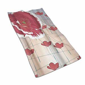 Lsjuee Livilan Poppy Gants de Toilette en Coton à Fleurs 27,5 x 15,7 Pouces, Chiffon Doux et Absorbant pour Le Visage, Gant de Toilette pour Salle de Bain, Serviettes de Toilette à séchage Rapide po