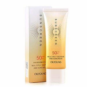 Luckine Crème solaire pour le visage SPF50 Protection de la peau sensible Crème solaire pour le visage pour le corps Hydratant Contrôle de l'huile hydratante Crème solaire