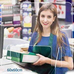 Lunchbox.com Bar À Ongles/Techniciens D'ongles Écran De Protection Anti-Toux Mobile Éternuement Simple Ou Gravé 60Cm X 60Cm Séparateurs D'isolation De Protection Bouclier