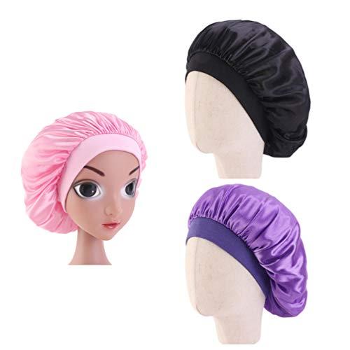 Lurrose enfant en bas âge en soie sommeil nuit casquette couvre-chef bonnet cheveux beauté foulard pour enfants 3pcs