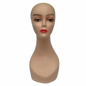 Mannequin de Couture Tête de Mannequin Femme Légère, Présentoir de Couleur Peau Foncée/Claire Avec Un Maquillage Réaliste, Perruques Chapeaux Affichage Tête de Mannequin (Color : Yellow)