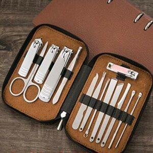 Manucure Pédicure Set Nail haut de gamme Clippers Set Beauté Manucure Soins Outils Pédicure Kit ciseaux à ongles Soins Ongles (Color : Gray)