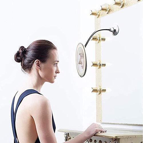 Maquillage 10x Miroir Maquillage,Trois Effets d'éclairage,Rotation de 360° Degrés Réglable Flexible col de Cygne avec Ventouse Forte,Portable pour la Maison,la Douche et Le Voyage Bath