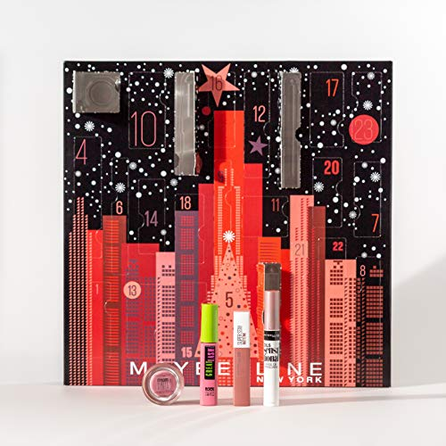 Maybelline New York Calendrier de l'Avent Maquillage Noël 2019, Coffret de 24 Surprises