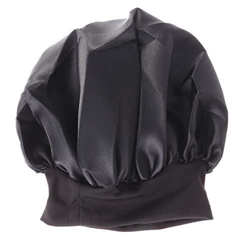 MILISTEN Bonnet de Couverture de Capuchon de Nuit en Satin Doux pour La Beauté Des Cheveux Et La Perte de Cheveux Des Femmes Ruban Élastique Réglable Noir