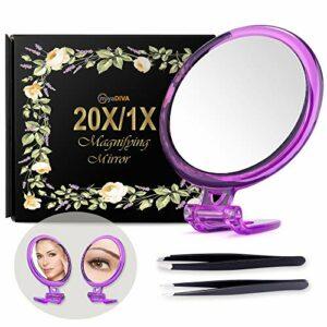 Miroir grossissant 20X 5 pouces avec pince à épiler – Parfait pour une application précise de maquillage pour les poils du visage, les points noirs et les tiques Argenté with Stand.