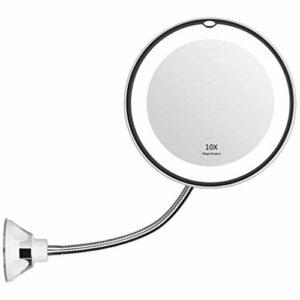 Miroir Maquillage, 10X Magnified LED avec Ventouse, Miroir de Maquillage prolongé Rond de 360 degrés, Miroir de Salle de Bain Rotatif