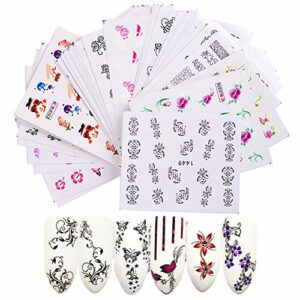 Mirrwin Ensemble D'autocollants de Filigrane 3D Conçoivent Auto-Adhésives Tip Nail Art Stickers 40 PCS pour Décorations D'Ongles Nail Stickers Mixte Conceptions Ongles Stencil Accessories (Fleurs)