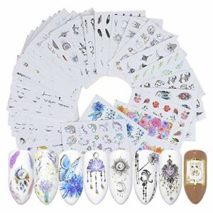 Mirrwin Ensemble D'autocollants de Filigrane 3D Conçoivent Auto-Adhésives Tip Nail Art Stickers 40 PCS pour Décorations D'Ongles Nail Stickers Mixte Conceptions Ongles Stencil Accessories (Rêve)