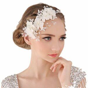 Miya Mega Glamour 1 serre-tête avec très belles fleurs en tulle dentelle Fleurs avec perles en cristal transparent Bijou de mariée pour cheveux