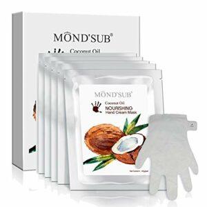 [MOND'SUB] Hydratante main et masque à ongles – Gants en santé huile de coco hydratantes pour les mains sèches – Avec Essence & Bio Hydratante Nourrissante main Masque Protection(5 paires)