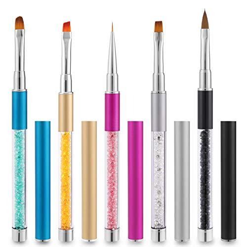 MWOOT Pinceau Ongles (Lot de 5), Outils de Brosses à Ongles Accessoires de Décoration pour Ongles Decoration, Ensemble de Pinceaux à Dessin pour Peinture Acrylique au Gel UV