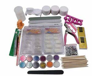 Nail Art Kit, poudre acrylique, Autocollants pour ongles, pinceau à ongles, lime à ongles, séparateur de doigt d'orteil, strass, pince à épiler, Nail Outils Manucure pour maquillage et nail art