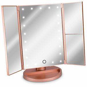 Navaris Miroir Lumineux LED 3 Faces à Poser – Miroir Maquillage Triptyque Pliable sur Pied avec Effet Grossissant x2 x3 – Pile ou USB – Rose doré