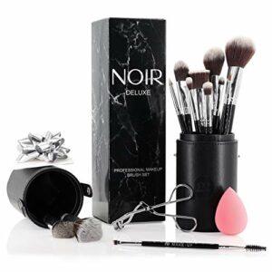 Noir Deluxe Kit de maquillage de qualité professionnelle avec pinceaux, Beauty Blender, recourbe-cils, porte-pinceaux et coffret cadeau (Argenté)