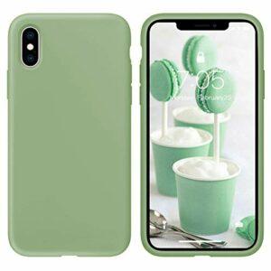 Oihxse Silicone TPU Gommage Case Compatible pour Huawei P10 Coque Ultra Fine Souple Protection Housse Mignon Couleurs Bumper Étui Anti-Rayures Cover(Matcha)