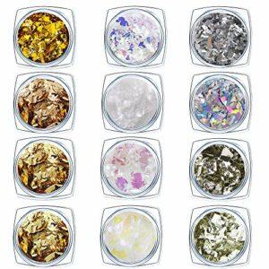 Paillettes Glitter Ongles Paillettes Holographiques Feuille D'or Nail Art D'argent Foil Paillettes Flake pour Ongles Cheveux Corps 12 Couleur