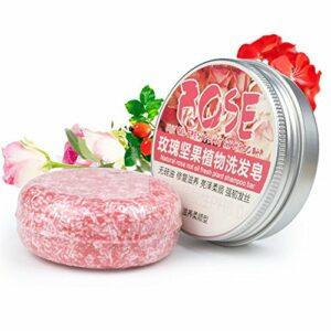 PanDaDa Conditioning Shampoo Bar, Shampooing Solide Sec Bio Savon Cheveux Hydratants 100% Naturel Fait à la Main-Rose