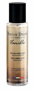 PARFUM D'ELITE PARIS – Vanille – Brume Parfumée Corps & Cheveux – Made in France – Pour Femme – Enrichie en Aloe Hydrantante, 100 ml