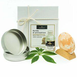Pierre d'Eau exfoliante/argile blanche naturelle/gommage du corps/peeling des mains, pieds/fourni avec savon végétal et support