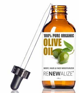 Renewalize Huile d'olive certifiée usda bio – Corps de la peau et les cheveux secs crème hydratante 4 Oz. Bouteille en verre noir   Le traitement à l'huile chaude   Manucure 4 Onces
