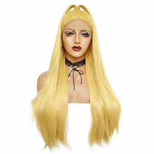 RJJ Perruque Femelle Européen Et Américain en Fiber Chimique Capuche 26 Pouce Jaune Longue Raide Cheveux Avant Bourgeon Écran en Soie Lisse Haute Densité Facile Soins