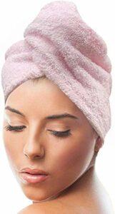 Serviette à séchage rapide super absorbante 100 % coton avec boutons féminins, anti-frisottis, bouclés, cheveux longs et épais (rose)