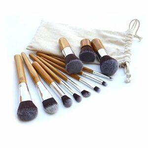 Set De 11 Maquillage Pinceaux – Cheveux Synthétiques, Virole En Aluminium, Poignée En Bambou, Sac En Lin by DELIAWINTERFEL