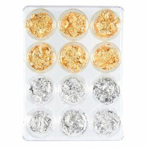 Set de feuilles d'aluminium pour la décoration d'ongles, lot de 12 accessoires de décalcomanie pour ongles, effet paillette et effet miroir, dorées et argentées