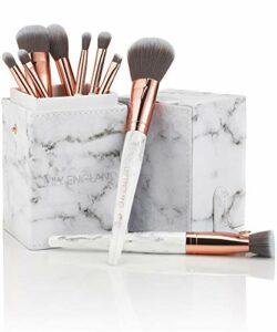 Set Pinceaux Maquillage Professionnel Marbre/Or Rose – Meilleur Kit Visage Pro avec Étui, Application Poudre, Blush, Fard Paupières, Eyeliner Cils, Lèvres – Cadeau
