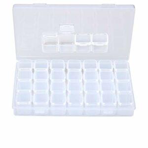 Siming Boîte de Rangement Bijoux Compartiments, Boîtes De Rangement en Plastique Transparent avec 28 Petites Grilles – Organiseur pour Bijoux & Accessoires de Nail & Outils Maquillage & Petites Pièces