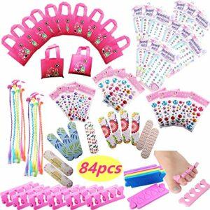 Spa Party Favors for Girls Supplies Sacs fourre-Tout, Emery Boards, Pinces à Cheveux, Séparateurs d'orteils, Bijoux pour Le Corps, Stickers Ongles Licorne