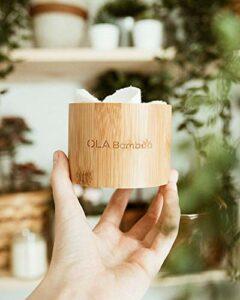 Tampons de maquillage ronds en bambou – Doux réutilisables/lavables pour le visage et la peau – Lingettes biologiques biodégradables pour un aspect sans huile – 16 pièces avec boîte de rangement