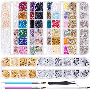 TYWZJ 10014 pièces Nail Art Strass Cristal gemmes Diamants pour Ongles avec 1 Pince à épiler et 2 stylos pointillés pour Accessoires de Fournitures d'art d'ongle