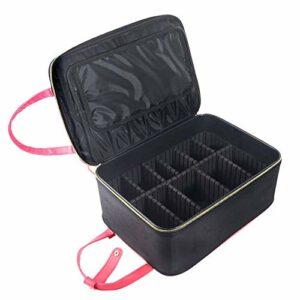 TYWZJ Boîte de Maquillage élégante Professionnelle, Grande Pochette de Maquillage Portable, Trousse de Maquillage Trousse de Train de Maquillage avec séparateurs réglables pour pinceaux de maquil