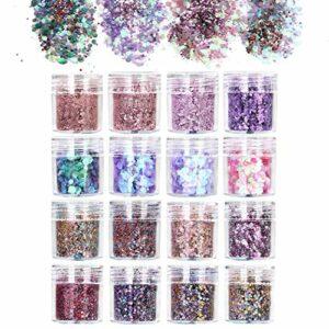 URAQT 16 PCS Paillettes Glitter Chunky Glitter Maquillage Pour Le Visage, Cheveux, Corps, Joues et Ongles, Beau Sparkling Decoration Poudre Pour Festival Fête,C