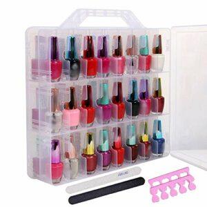 Vishine Boîte de rangement Double côtés 48 Espace pour ranger et organiser les Vernis à ongles Gel Organisateur Support de rangement fente Réglable Nail Art Accessoire
