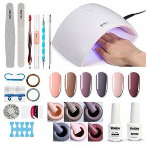 Vishine Lampe UV LED 36W Séchoirs à ongles, avec 6 Vernis Semi Permanent Vernis Gels, Top Base Coat, Kit Complet Manucure Outils Accessoires Nail Art Kit Cadeau pour Débutants