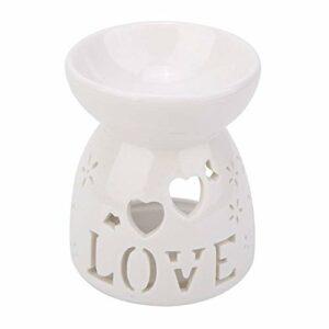 Vobor Night Fragrance Lamp, Céramique Encens Bougie Aromathérapie Poêle pour Maison Salle De Bains Chambre(l'amour)