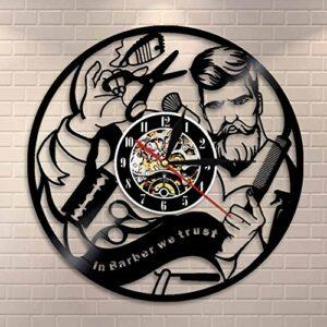 wtnhz LED-Salon de Coiffure Disque Vinyle Silencieux Horloge Murale Coiffeur Salon de beauté Boutique Montre Murale décoration chez Le Coiffeur Nous Faisons Confiance au Cadeau du Coiffeur